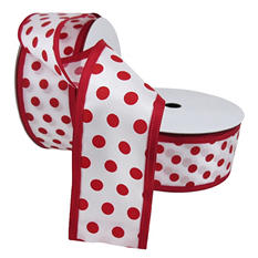 """2 Pack Premium Satin with Wire Ribbon - Red Polka Dot with Red Edge (2.5"""" x 50 yds. each 100 yds. total)"""