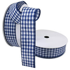 "2 Pack Premium Woven with Wire Ribbon - Gingham Navy and White (1.5"" x 50 yds. each 100 yds. total)"
