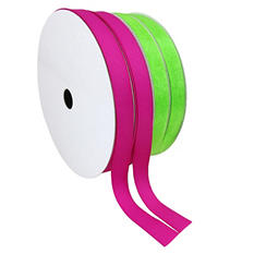 "2 Pack Premium Ribbon - Pink Woven Solid and Lime Sheer (5/8"" x 100 yds. each 200 yds. total)"