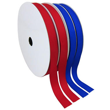 "2 Pack Premium Ribbon - Red & Blue Woven Solid (5/8"" x 100 yds. each 200 yds. total)"