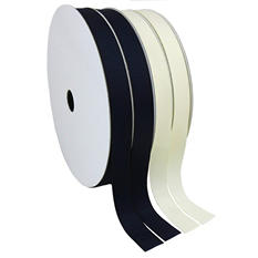 "2 Pack Premium Ribbon - Black & Ivory Woven Solid (5/8"" x 100 yds. each 200 yds. total)"
