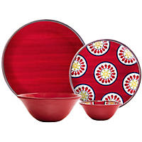 Melamine Dinnerware 16-Piece Set - Assorted Colors