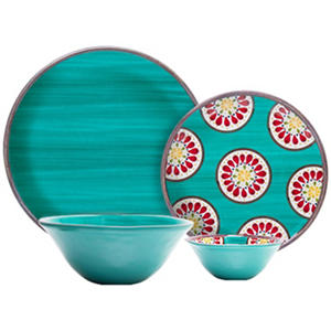 Melamine Dinnerware 16-Piece Set - Assorted Colors