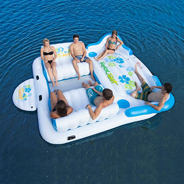 Tropical Tahiti Floating Island with 2 Contoured Loungers, 2 Built in Coolers, 6 Cup Holders