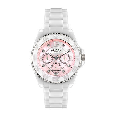 Rotary Ladies' White Ceramique Watch with Pink Mother of Pearl Dial