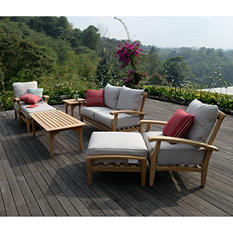 Teak Outdoor 7 pc Patio Seating Set with Choice of Cushion Color