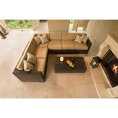 Tribecca Outdoor Patio 7 pc Sectional with Premium Sunbrella® Fabric