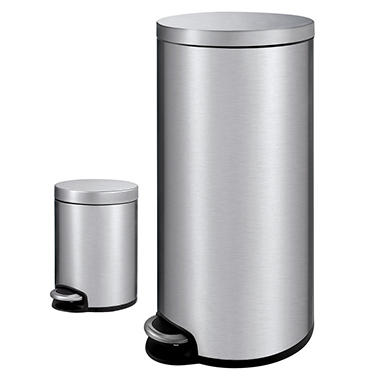 Member S Mark Stainless Steel Trash Can Combo 1 3 Gal Amp 7