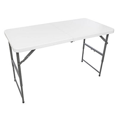 Maxchief 4' Adjustable Height Fold-in-Half Table - White