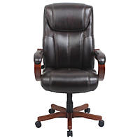 Barcalounger Executive Wood Big & Tall Chair, Brown (Supports up to 350 lbs.)