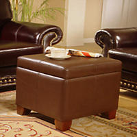 Full Grain Leather Storage Ottoman