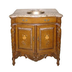 Brass Sink and Marble Top Vanity