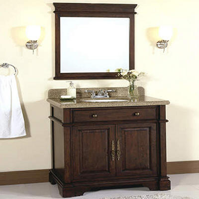 """32"""" Granite Top Vanity with Backsplash and Mirror"""
