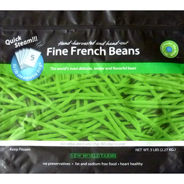 New World Farms Frozen French Green Beans - 5 lb. bags - 6 ct.