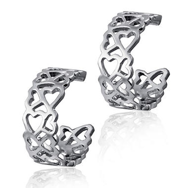 Sterling Silver Cuzan Heart Earrings
