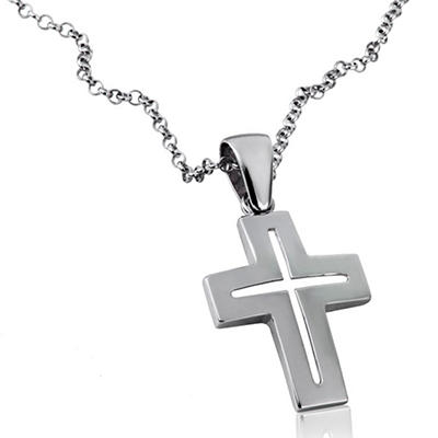 925 Sterling Silver Mackech Open Cross Pendant