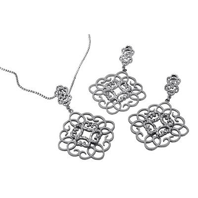 Cuzan By Mackech Square Flower Pendant and Earring Set in Sterling Silver