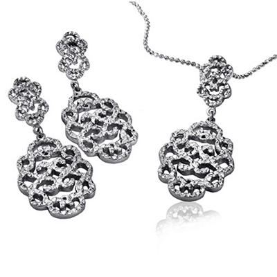 Cuzan By Mackech Textured Pendant and Earring Set in Sterling Silver