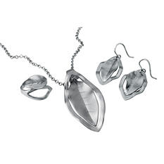 MCK By Mackech Sterling Silver Leaf Pendant and Earring Set in Sterling Silver