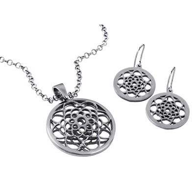 MCK By Mackech Round Flower Pendant and Earring Set in Sterling Silver