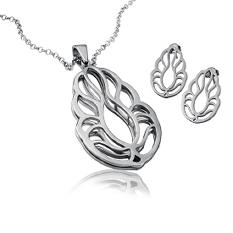 Cuzan By Mackech Leaf Pendant and Earring Set in Sterling Silver