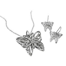 MCK by Mackech Sterling Silver Butterfly Pendant and Earring Set in Sterling Silver