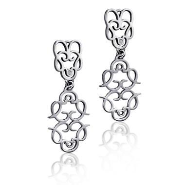 Cuzan By Mackech Textured Long Earrings  in Sterling Silver
