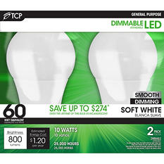 TCP LED 10-Watt Soft White General Use Light Bulbs (2 pk)