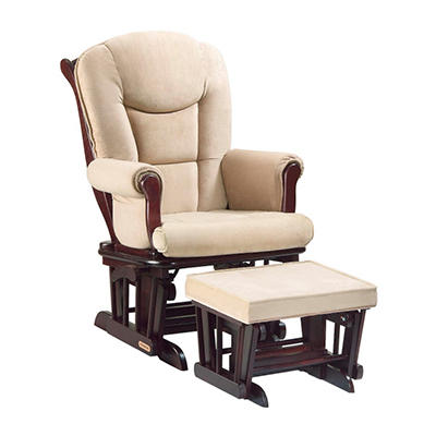 Shermag - Glider Rocker & Ottoman Combo - Cherry and Oatmeal