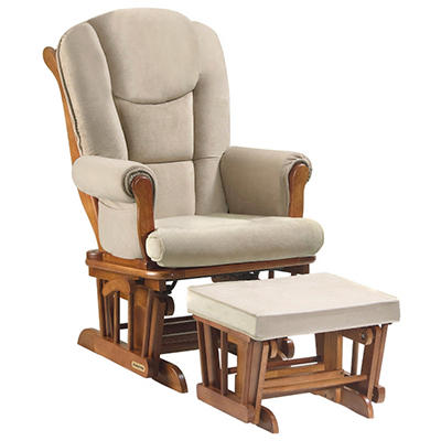 Shermag - Glider Rocker & Ottoman Combo - Chestnut and Oatmeal