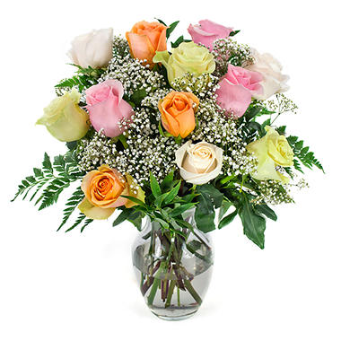 Rose Bouquet - Mixed Pastels - 1 Dozen