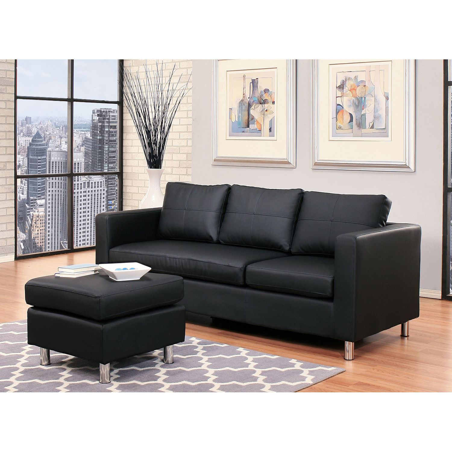 leather sectional sofa reversible chaise lounge ottoman