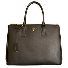 Women's Galleria Double-Zip Leather Tote Handbag by Prada