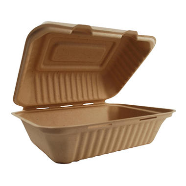World Centric Compostable/ Biodegradable Fiber Take Out Hoagie Boxes - 500 ct.
