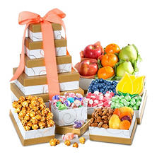 Spring Fresh Fruit and Gourmet Sweets Gift Tower