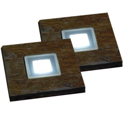 Solar powered slate stepping stones 2 pk for Solar powered glow stepping stones