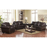 Sophie Top-Grain Leather Sofa, Loveseat and Armchair Set