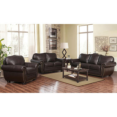 Sophie Top-Grain Leather Sofa, Loveseat and Armchair Set ...