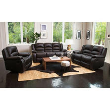 Verona Top-Grain Leather Reclining Sofa, Loveseat and Chair Set