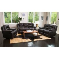 Verona Top-Grain Leather Reclining Loveseat and Chair Sofa Set