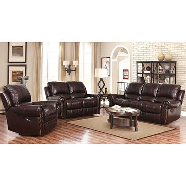 Bentley Leather Recliner Sofa Loveseat and Armchair Set Sam s Club