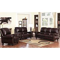 Taylor Top-Grain Leather Sofa, Loveseat and Armchair Set