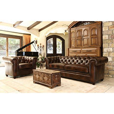Natali Italian Leather Sofa and Armchair Set