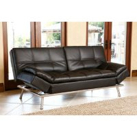 Chelsea Leather Convertible Sofa (Black or White)