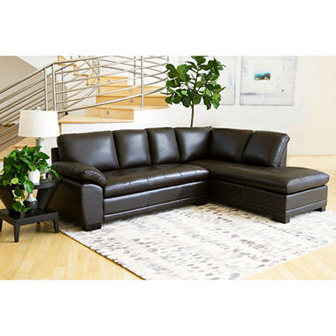 Westbury top grain leather sectional sam 39 s club for Westbury leather sofa