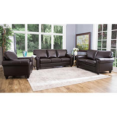 Maverick Top-Grain Leather Sofa, Loveseat, and Armchair Set