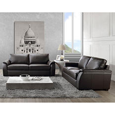 Montclair Top-Grain Leather Sofa and Loveseat Set