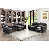 Terranova Top-Grain Leather Reclining Sofa, Loveseat and Armchair Set