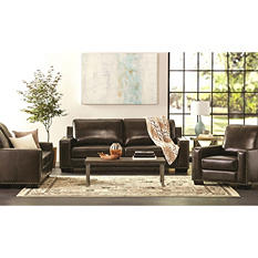 Brighton Hand-Rubbed To-Grain Leather Sofa, Loveseat, and Armchair Set