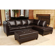 Catherine Top-Grain Leather Sectional and Ottoman